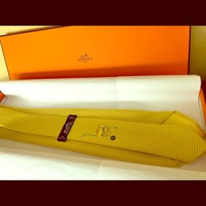 Authentic Hermes silk necktie: Tennis Ball Cart